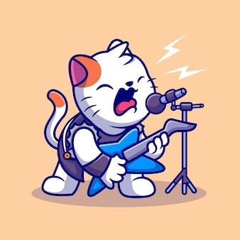 Gato bonito rocker cantar com ilustração de ícone de vetor de desenho animado de guitarra. conceito de ícone de música animal isolado vetor premium. estilo flat cartoon