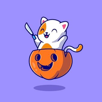 Gato bonito segurando a faca na ilustração do ícone dos desenhos animados de abóbora de halloween.
