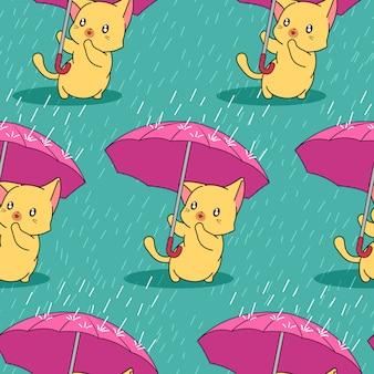 Gato bonito sem costura com guarda-chuva no padrão de dia chuvoso.