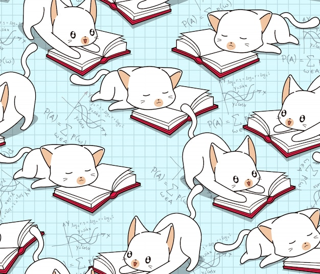 Gato bonito sem costura está lendo um padrão de livro.