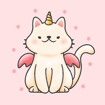 Gato bonito unicórnio desenho animado
