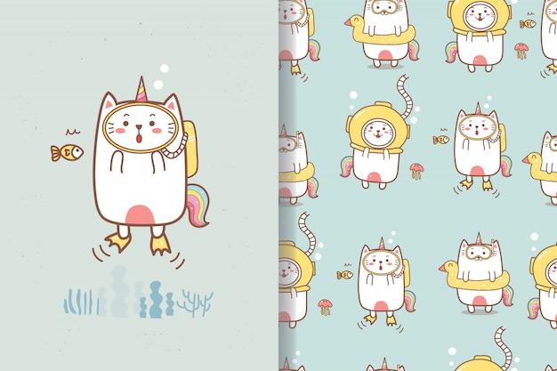 Gato bonito unicórnio mergulho verão dos desenhos animados sem costura padrão
