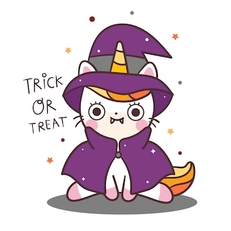 Gato bonito unicórnio vector halloween personagem bruxa fantasia