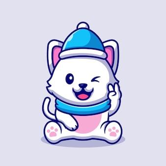 Gato bonito usando chapéu e lenço com ilustração dos desenhos animados de paz de mão. conceito animal do inverno isolado. estilo flat cartoon