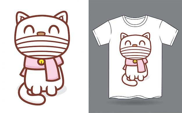 Gato bonito usando máscara e cachecol dos desenhos animados para impressão de camiseta