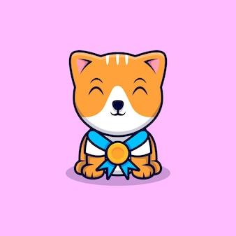 Gato bonito vestindo uma ilustração do ícone dos desenhos animados de medalha de ouro. estilo flat cartoon