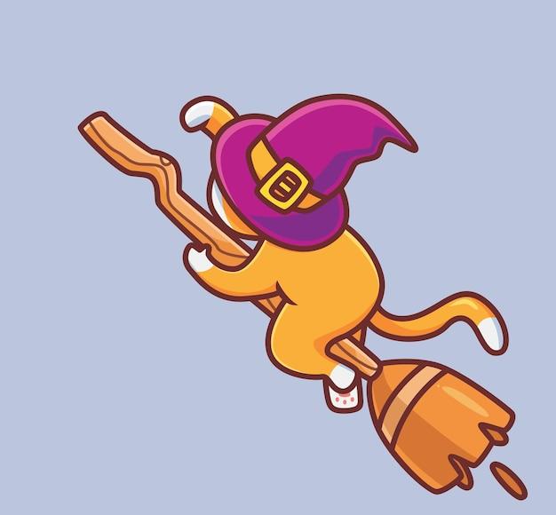 Gato bonito voando com flor mágica animal isolado dos desenhos animados ilustração do dia das bruxas estilo simples