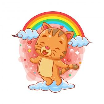 Gato bonito voando na nuvem com fundo de arco-íris
