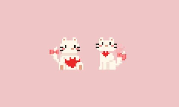 Gato branco de pixel com coração