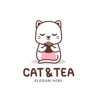 Gato branco e logotipo do chá isolado no branco