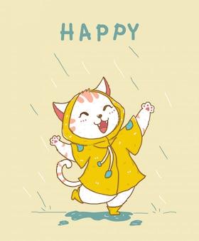 Gato branco feliz fofo no casaco de chuva amarelo pulando na chuva, idéia para cartão de felicitações, material de crianças imprimir, ilustração de berçário criança plana