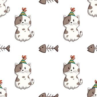 Gato branco fofo com espinha de peixe em padrão sem emenda com estilo doodle colorido em fundo branco