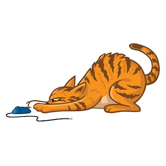 Gato brincando com o mouse do computador ilustração em vetor