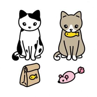 Gato cartoon gatinho comida peixe rato rato personagem