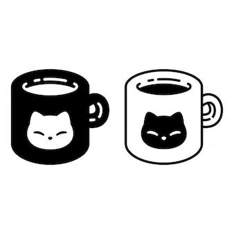 Gato cartoon gatinho xícara de café chá Vetor Premium