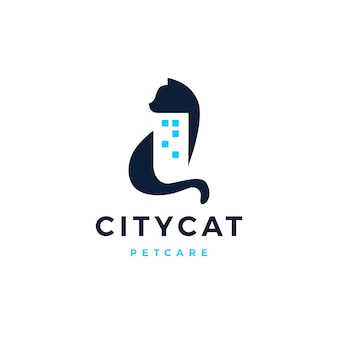 Gato cidade construção casa casa logo vector icon ilustração