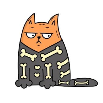 Gato cinzento bonito com uma fantasia de esqueleto para o halloween. ilustração do estilo doodle