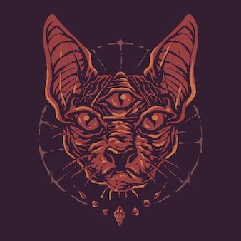 Gato colorido da esfinge da magia negra