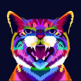 Gato colorido de ilustração com estilo pop art