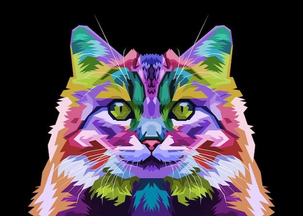 Gato colorido floresta no estilo pop art. ilustração.