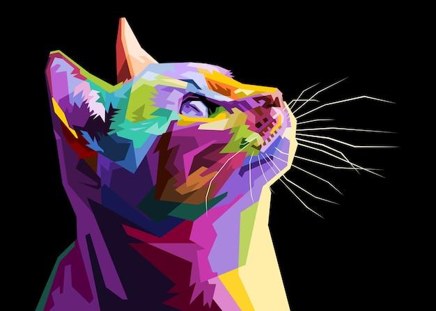 Gato colorido isolado no fundo branco.