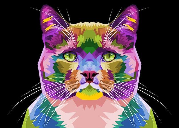 Gato colorido no estilo pop art. ilustração.