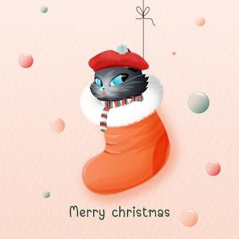 Gato com botas de natal no dia de natal.