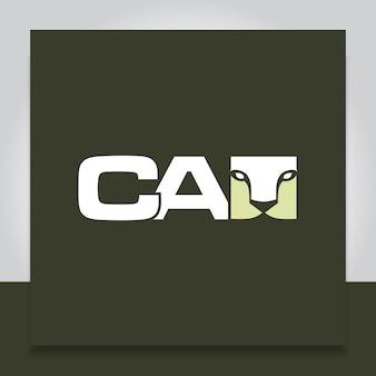 Gato com cara no design do logotipo da carta