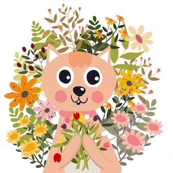 Gato com desenhos animados do vetor da ilustração da garatuja da flor.