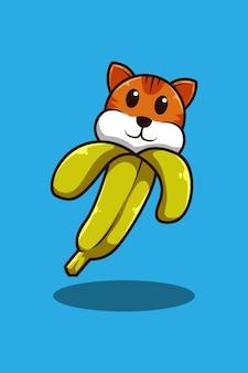 Gato com ilustração de desenho animado de banana
