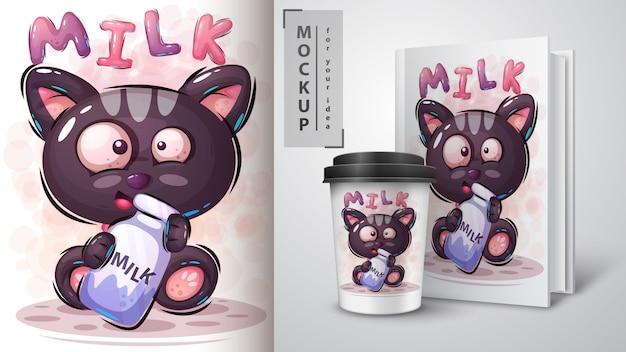 Gato com ilustração de leite e merchandising