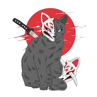 Gato com ilustração de máscara kitsune em estilo japonês Vetor Premium