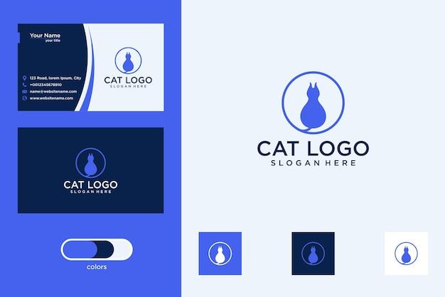 Gato com logotipo de círculo e cartão de visita