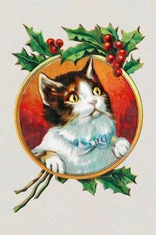 Gato com moldura dourada natal