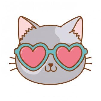 Gato com óculos de sol de coração