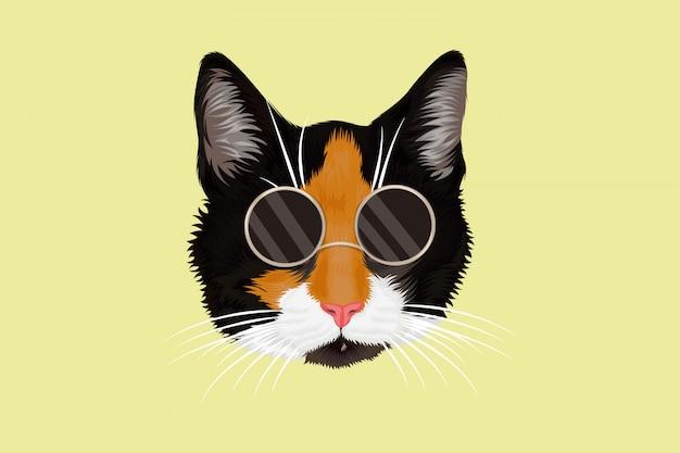 Gato com óculos desenhando à mão