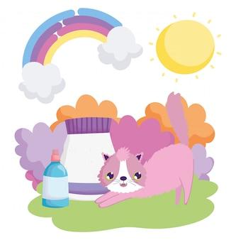Gato com pacote de alimentos e garrafa veterinária paisagem animais de estimação