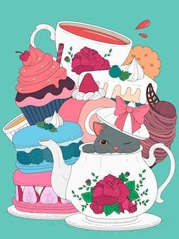 Gato com pastel e chá