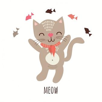 Gato com peixe