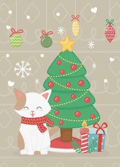 Gato com presentes de árvore e ilustração de bolas
