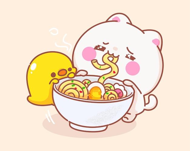 Gato comendo macarrão com ilustração de desenho de pato