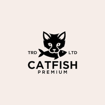 Gato comendo peixe ilustração do ícone do logotipo vintage