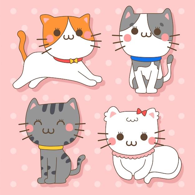 Gato - conjunto de ilustração de personagem de animais fofos kawaii