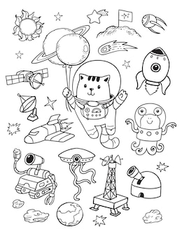 Gato cosmonauta no doodle do espaço