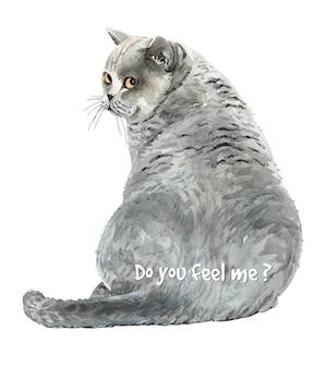 Gato da aguarela sentado olhando para trás.
