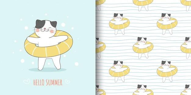 Gato da ilustração e do teste padrão com anel de borracha amarelo para o verão.