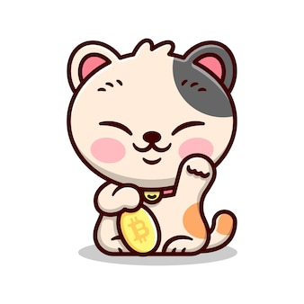 Gato da sorte japonês bonito está segurando uma mascote e personagem de bitcoin amarelo e sorridente