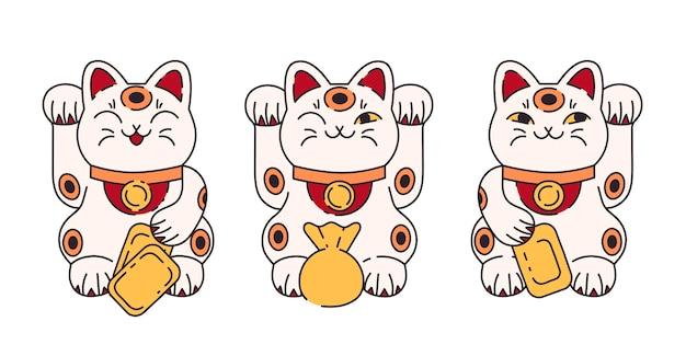 Gato da sorte maneki neko definido em desenho animado