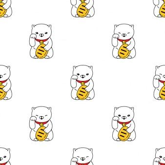 Gato da sorte sem costura padrão maneki neko gatinho