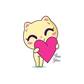 Gato de amor desenhado de mão